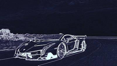 Digital Art - Lamborghini Veneno  by PixBreak Art
