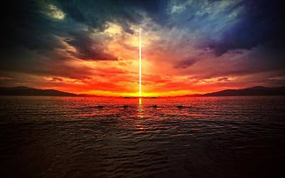 Sunset Digital Art - Manipulation by Super Lovely