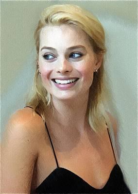 Actrice Digital Art - Margot Robbie Poster by Best Actors
