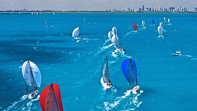 Photograph - Miami Skyline Regatta by Steven Lapkin