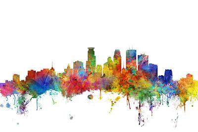 Digital Art - Minneapolis Minnesota Skyline by Michael Tompsett
