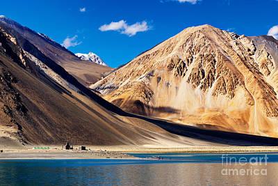 Rowing Royalty Free Images - Mountains Pangong tso Lake Leh Ladakh Jammu and Kashmir India Royalty-Free Image by Rudra Narayan  Mitra