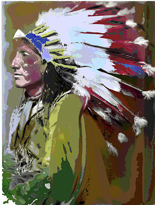 Wild Horse Paintings - Native Americans by Charles Shoup
