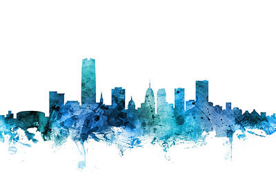 Digital Art - Oklahoma City Skyline by Michael Tompsett
