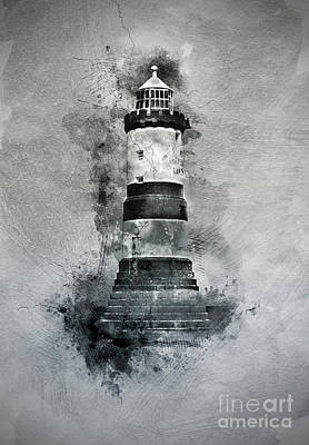 North Sea Mixed Media - Penmon Lighthouse by Ian Mitchell