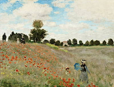 Poppies Artwork Painting - Poppy Field by Claude Monet