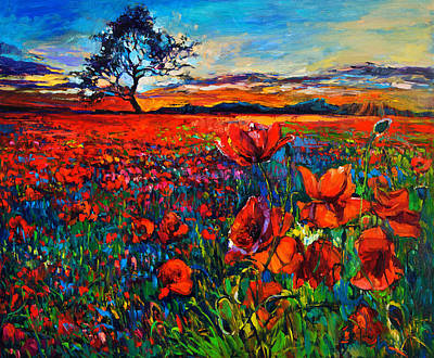Abstract Beach Landscape Drawing - Poppy Fields By Ivailo Nikolov by Boyan Dimitrov