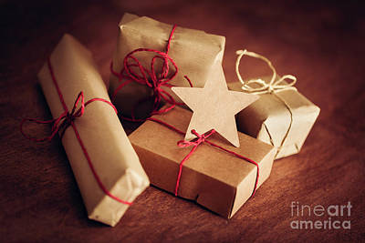 Friendly Photograph - Rustic Retro Gift, Present Boxes With Tag. Christmas Time, Eco Paper Wrap. by Michal Bednarek