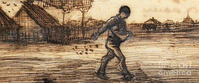 Drawing - The Sower by Vincent Van Gogh