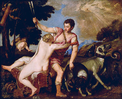 Unclothed Painting - Venus And Adonis by Titian