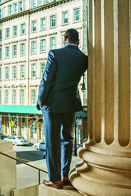 Photograph - Young African American Businessman Working In New York by Alexander Image