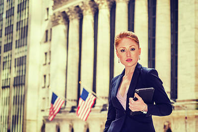 Photograph - Young Businesswoman Working In New York by Alexander Image