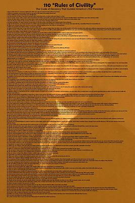 Painting - 110 Rules Of Civility -the Code Of Decency That Guided America S First President V5 by Adam Asar