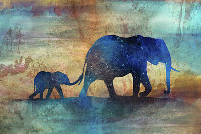 Digital Art - 11013 Elephants by Pamela Williams