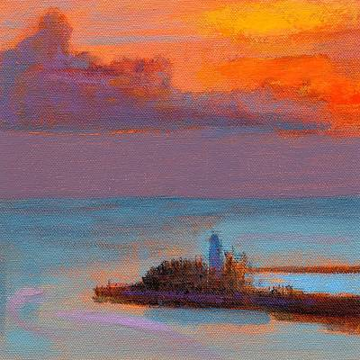 Ocean Sunset Painting - Rcnpaintings.com by Chris N Rohrbach