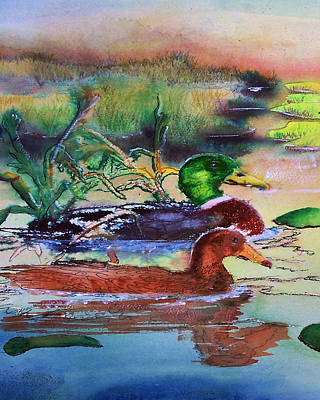 Painting - 111715 Maw And Paw Mallard by Garland Oldham
