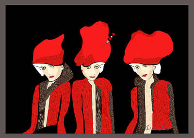 Painting - 1127 - The Red Hats 1 ... by Irmgard Schoendorf Welch