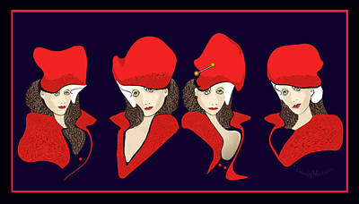 Digital Art - 1128 - Those Funny Red Hats 2017 by Irmgard Schoendorf Welch