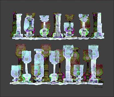 Luminescent Digital Art - 113 - Lightblue Glasses   by Irmgard Schoendorf Welch