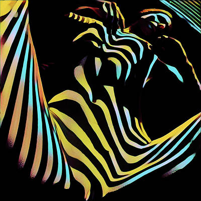 Digital Art - 1149s-ak Dramatic Zebra Striped Woman Rendered In Composition Style by Chris Maher