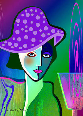 Digital Art - 2518 - Her Purple Pocodot Hat 2017 by Irmgard Schoendorf Welch