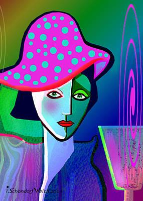 Digital Art - 1150 - Her New Pocodot Hat 2017 by Irmgard Schoendorf Welch