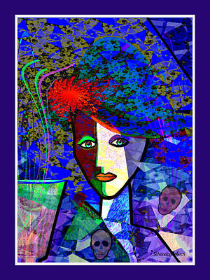 Digital Art - 1151 - Blue Lady With Skulls And Flower 2017 by Irmgard Schoendorf Welch