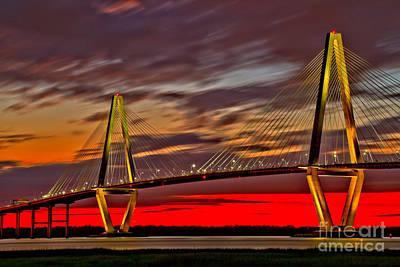 Photograph - Ravenel Bridge Blazing Sunset by Adam Jewell