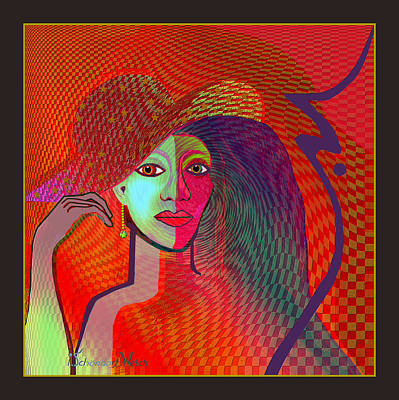 Digital Art - 1197- Wild Lady In Red 2017 by Irmgard Schoendorf Welch