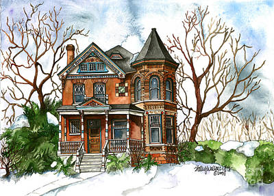 Snow Scape Painting - Victorian Winter by Shelley Wallace Ylst