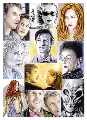 11th Doctor Drawing - 11th Doctor And Company by Wu Wei
