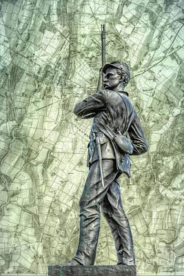 11th Digital Art - 11th Pennsylvania Gettysburg Map  by Randy Steele