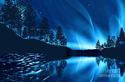 Print featuring the photograph Aurora Borealis by Setsiri Silapasuwanchai