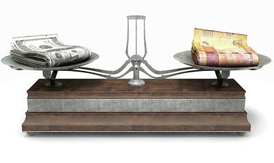 Exchange Rate Digital Art - Balance Scale Comparison by Allan Swart