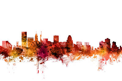 Digital Art - Baltimore Maryland Skyline by Michael Tompsett