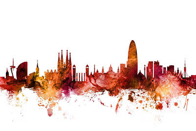 Barcelona Wall Art - Digital Art - Barcelona Spain Skyline by Michael Tompsett