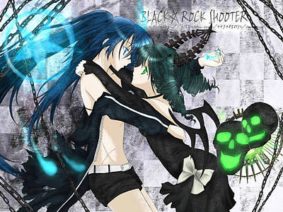 Blue Digital Art - Black Rock Shooter by Maye Loeser