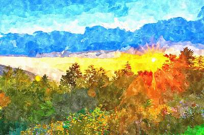 Painting - Blue Ridge Parkway Late Summer Appalachian Mountains Sunset West by Alex Grichenko