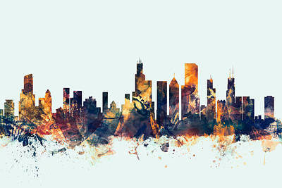 Cities Digital Art - Chicago Illinois Skyline by Michael Tompsett