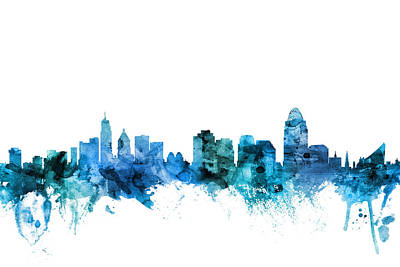Cincinnati Skyline Wall Art - Digital Art - Cincinnati Ohio Skyline by Michael Tompsett