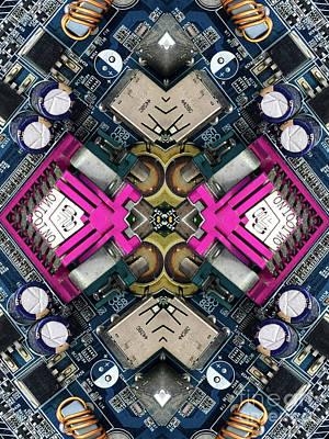 Circuit Photograph - Computer Circuit Board Kaleidoscopic Design by Amy Cicconi