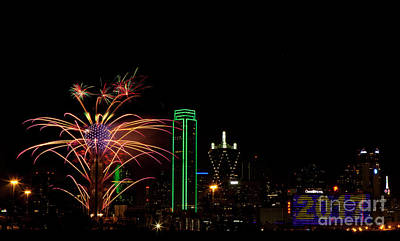 Metroplex Office Photograph - Dallas Texas - Fireworks by Anthony Totah