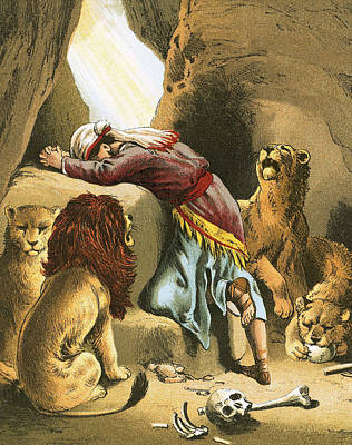 Book Of Daniel Painting - Daniel In The Lion's Den by English School