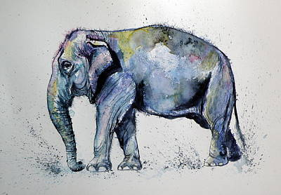 Yellow Elephant Painting - Elephant by Kovacs Anna Brigitta