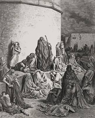 Old People Sketches Drawing - Engraving From The Dore Bible by Vintage Design Pics