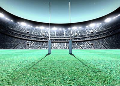 Stadium Digital Art - Floodlit Stadium Night by Allan Swart