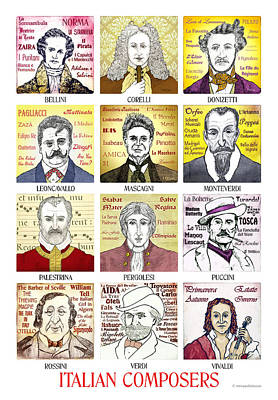 12 Italian Composers Art Print by Paul Helm