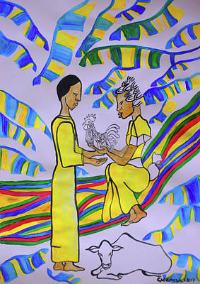 Painting - Kintu And Nambi A Ugandan Folktale by Gloria Ssali