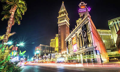 Vermeer Rights Managed Images - Las Vegas Nevada City Skyline And Vegas Strip At Night Royalty-Free Image by Alex Grichenko