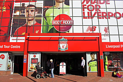 Liverpool Uk, 17th September 2016. Liverpool Football Club's New Giant Mural For The 2016/17 Season At The Kop End Of The Stadium Art Print